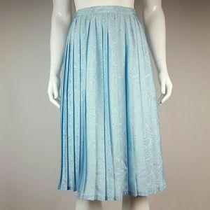 Vintage Blue Floral Pleated Midi Skirt